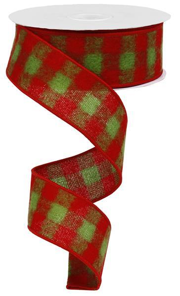 "1.5"" Fuzzy Flannel Check Ribbon-Red/Lime Green  RG01379T9"