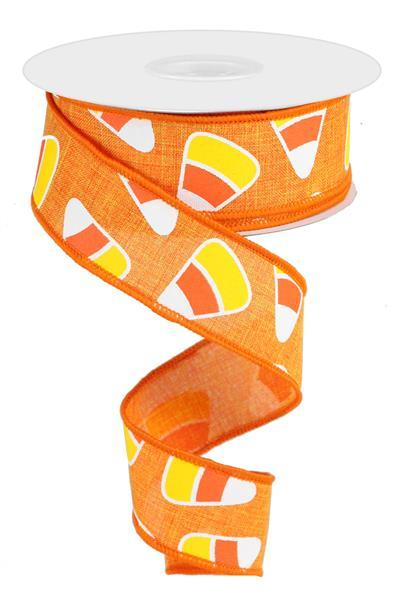 "1.5"" Candy Corn on Royal Burlap Ribbon- Orange/Yellow/White  SKU RG0171620"