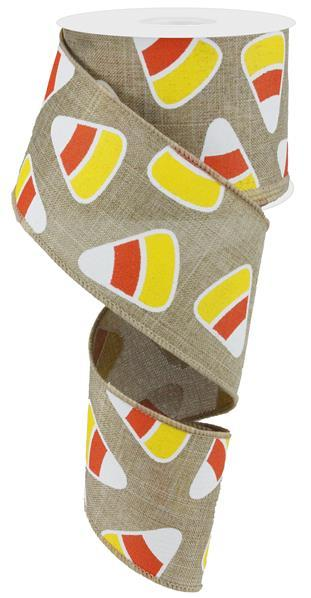 "2.5"" Candy Corn on Royal Burlap Ribbon- Light Beige/Orange/Yellow/White  SKU RG01717R2"