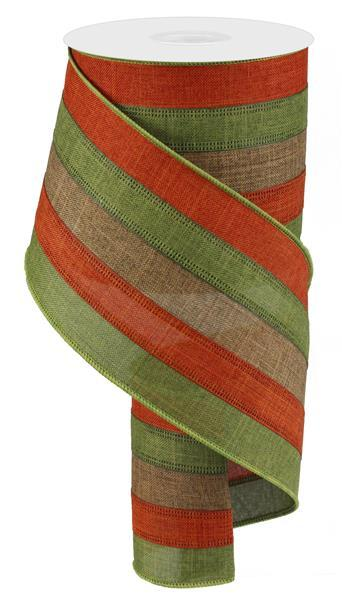 "4""   5 in 1 Combo Royal Burlap Ribbon- Brown/Tan/Green/Rust  SKU RG01762CX"