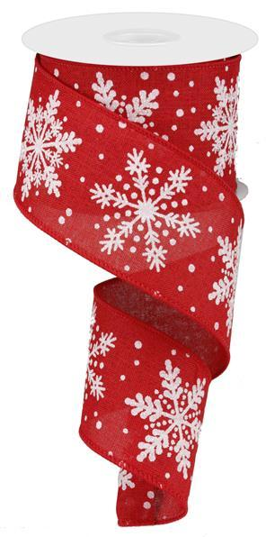 "2.5"" Glittered Snowflakes on Royal  Ribbon- Red/White/Silver  SKU RG0176324"