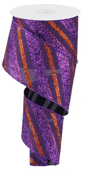 "2.5"" Diagonal Glitter Stripe Faux Canvas Ribbon- Purple/Orange  SKU RG0176623"