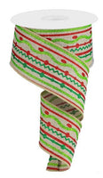 "2.5"" Glitter Wavy Stripe on Royal Ribbon- Emerald/Red/Lime/Natural SKU RG0178718"