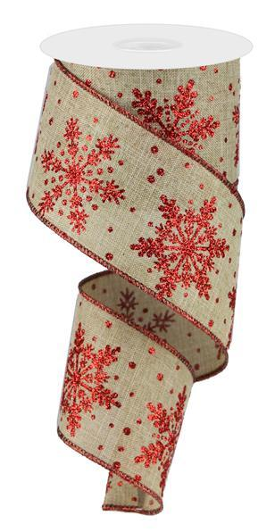 "2.5"" Large Glittered Snowflakes Ribbon- Light Beige/Red  SKU RG01792K5"