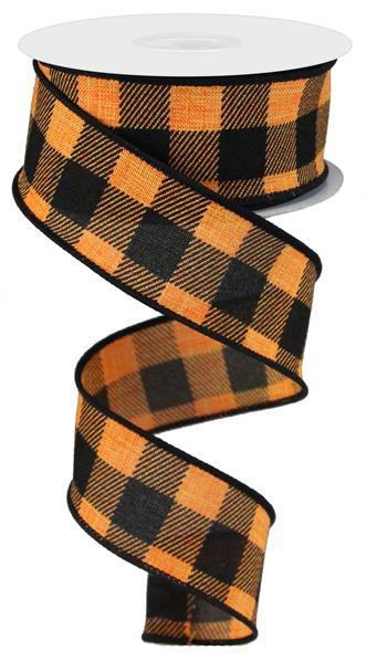 "1.5"" Striped Check On Royal Ribbon- Black/Orange SKU RG01805P2"