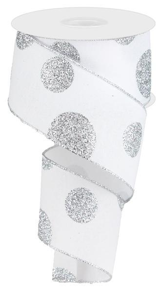"2.5"" Glittered Multi Dots On Royal Ribbon- White/Silver  SKU RG0182927"