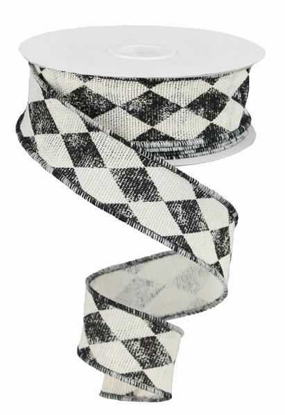 "1.5"" x 50yd Vintage Harlequin - Off White/Black SKU RG05914FT"