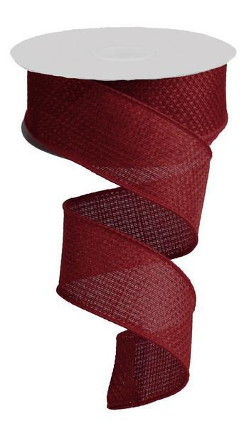 "1.5"" Cross Royal Burlap Ribbon- Burgundy  SKU RG121105"