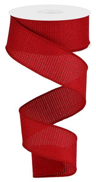 "1.5"" Cross Royal Burlap Ribbon- Bright Red  SKU RG121124"