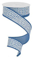 "1.5""  Greek Keys Ribbon- Denim/Ivory  SKU RG1606C6"