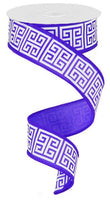 "1.5""  Greek Keys Ribbon- Purple/White  SKU RG161223"