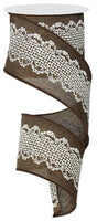 "2.5"" Crochet Lace on Royal Ribbon-Brown/Cream  SKU RG191804"