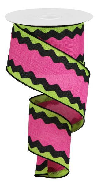 "2.5"" 3-in-1 Ricrac on Royal Ribbon- Lime/Black/Fuchsia  SKU RG20292M"