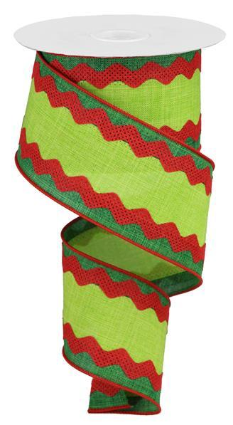 "2.5"" 3-in-1 Ricrac on Royal Ribbon- Emerald/Lime/Red  SKU RG20292W"