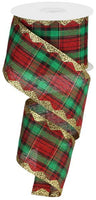 "2.5'"" Metallic Plaid w/Glitter RicRac Ribbon-Red/Green/Black/Gold   SKU RG2033FF"