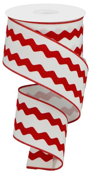"2.5"" Velvet Ric-Rac Ribbon- White/Red SKU RG206267"