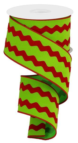 "2.5"" Velvet Ric-Rac Ribbon- Red/Lime SKU RG2062W1"