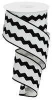 "2.5"" Velvet Ric-Rac Ribbon- White/Black  SKU RG2062X6"