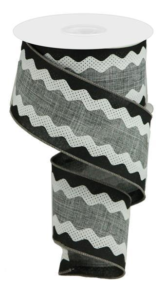 "2.5"" Royal Burlap/Velvet Ricrac - Grey/Black/White SKU RG20646C"