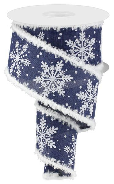 "2.5"" Glittered Snowflakes Snowdrift Ribbon- Navy Blue/White/Silver  SKU RG874719"
