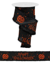 "2.5"" Happy Halloween on Royal Ribbon- Orange/Black SKU RG883402"