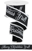 "2.5"" Merry Christmas Ya'll w/Snowdrift Ribbon-Black/White  SKU RG883602"