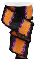 "2.5"" Wavy Stripes on Royal Ribbon-Orange/Black/Dark Purple SKU RG884820"