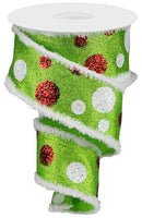 "2.5""  Giant Polka Dot Ribbon- White/Red/Lime SKU RG888833"