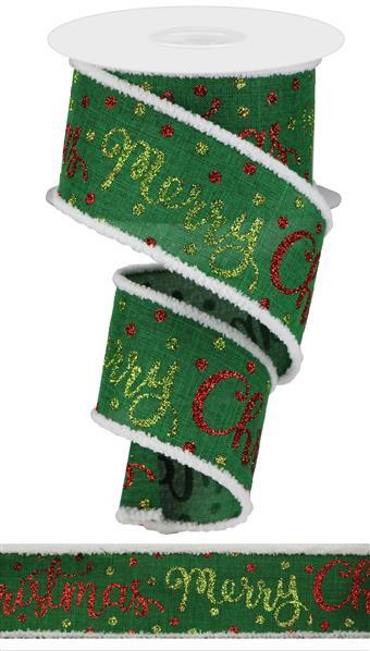 "2.5""  Merry Christmas Script Royal  Ribbon-Emerald/Red/Lime  SKU RG895406"