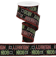 "2.5"" Naughty or Nice on Royal Ribbon-Black/White/Red/Green  SKU RG895802"