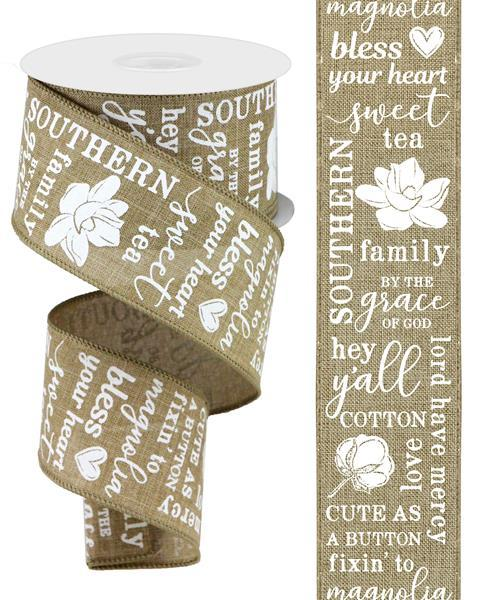 "2.5"" Southern Charm Ribbon-Light Beige/White  SKU RGA103101"