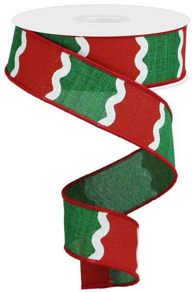 "1.5"" Wavy Stripes on Royal Ribbon-Emerald Green/Red/White SKU RGA116306"