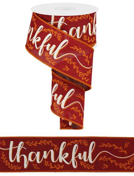 "2.5""  Thankful on Royal Ribbon- Burgundy/Light Cream/Orange SKU RGA118005"