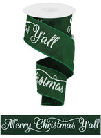"2.5"" Merry Christmas Ya'll Ribbon-Emerald Green/White  SKU RGA119406"
