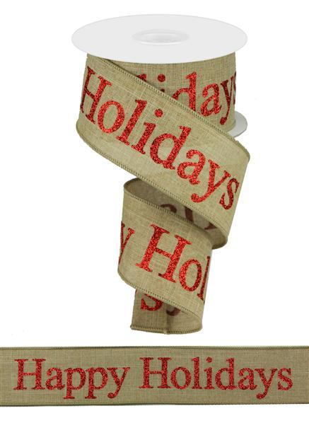 "2.5"" Happy Holidays on Royal Ribbon-Light Beige/Red SKU RGA124101"