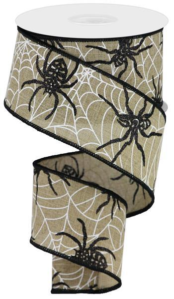 "2.5"" Spiders And Webs On Royal Ribbon- Light Beige/Black/White SKU RGA124401"