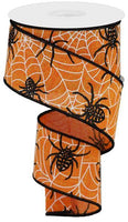 "2.5"" Spiders And Webs On Royal Ribbon- Orange/Black/White SKU RGA124420"