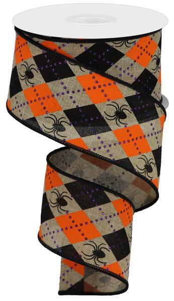 "2.5"" Argyle Spiders on Royal Ribbon- Beige/Orange/Black/Purple SKU RGA135001"