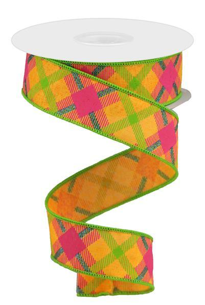 "1.5"" Printed Plaid Ribbon-Orange/Lime/Hot Pink/Blue  SKU RGA143220"