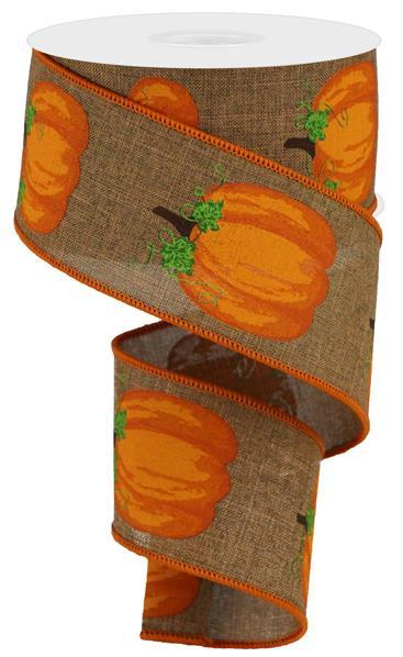 "2.5""  Pumpkins with Leaves on Royal Ribbon-Brown/Orange/Moss  SKU RGA147104"