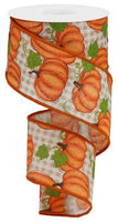 "2.5"" Pumpkin Patch Check Ribbon- Ivory, Orange, Moss SKU RGA148033"