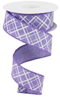 "1.5""  Thick/Thin Diagonal Check Ribbon- Lavender/White  SKU RGA150513"
