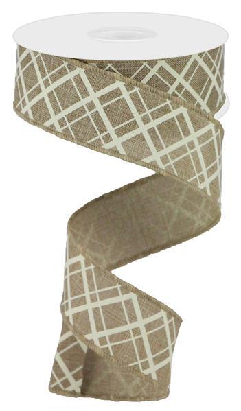 "1.5""  Thick/Thin Diagonal Check Ribbon- Light Beige/Ivory  SKU RGA1505TT"