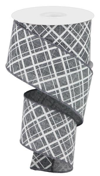 "2.5""  Thick/Thin Diagonal Check Ribbon- Grey/White  SKU RGA150610"