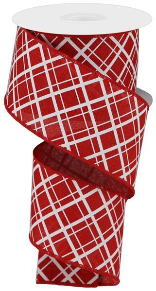 "2.5""  Thick/Thin Diagonal Check Ribbon- Red/White  SKU RGA150924"