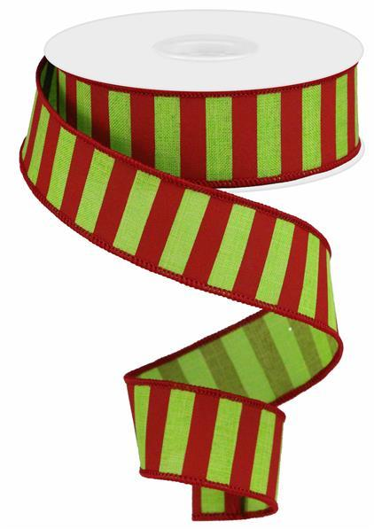 "1.5"" x 50yd Medium Horizontal Stripe - Lime Green/Red SKU RGA5072WY"