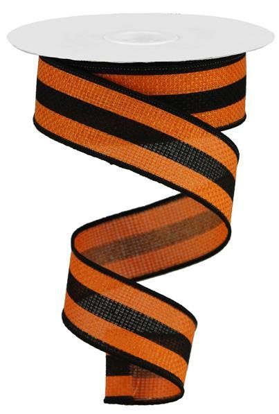 "1.5"" x 50yd Vertical Stripe On Cross Royal - Orange/Black SKU RGA525820"