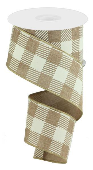 "2.5"" x 50yd Large Striped Check On Royal - Light Beige/Ivory SKU RGA542701"