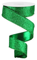 "1.5""  Glitter on Metallic Ribbon- Green  SKU RJ403009"