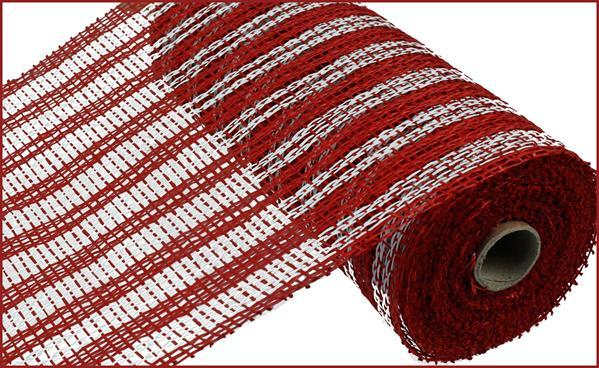 "10"" Poly Burlap Double Stripe Mesh- Red/White   SKU RP810634"
